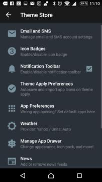 Možnosti nastavení aplikace Themer