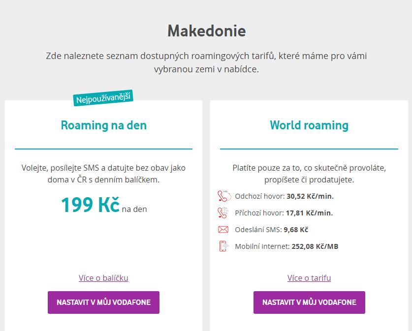 Roamingové ceny v Makedonii