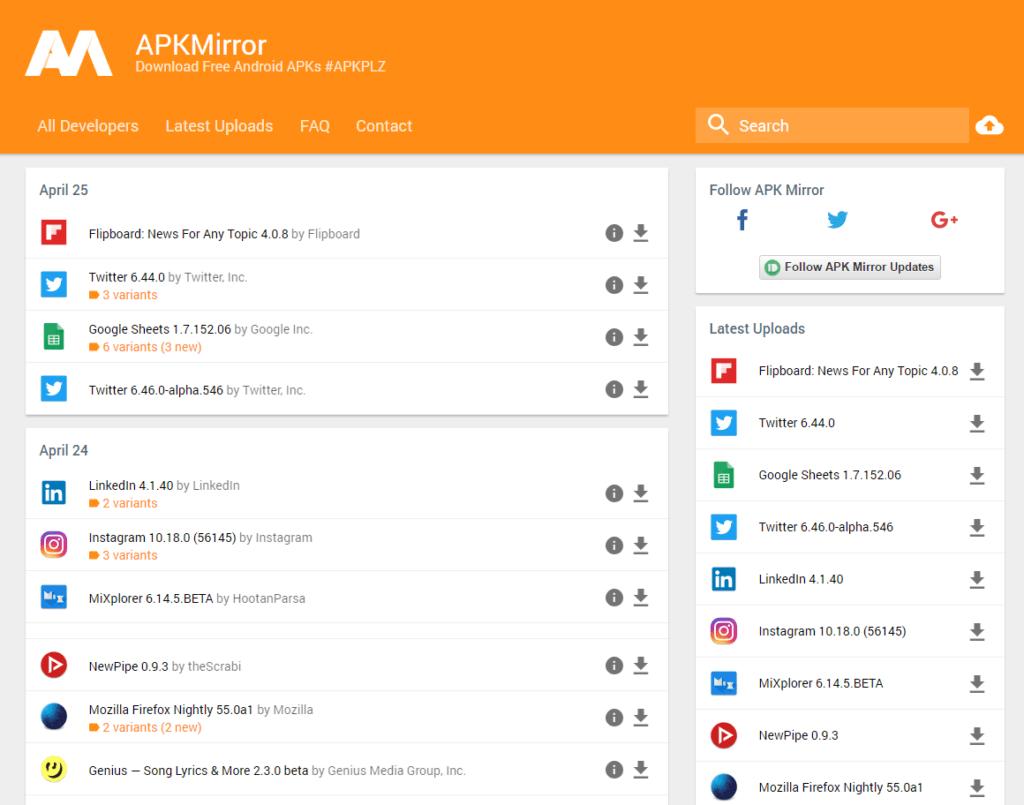 Server APKMirror umožňuje stahování a instalaci APK balíčků