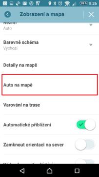 Otevřete nabídku Auto na mapě