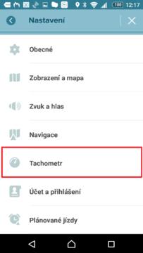 Sekce Tachometr