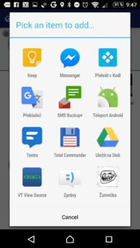Přidání aplikace do seznamu