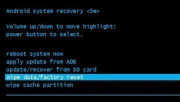 wipe data/factory reset