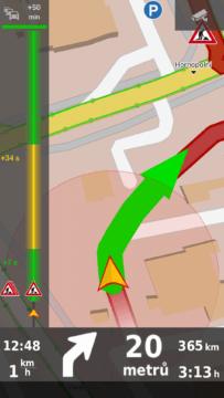 Dopravní informace v levém pruhu