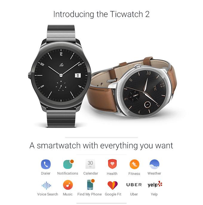 Stylove chytre hodinky Ticwatch 2