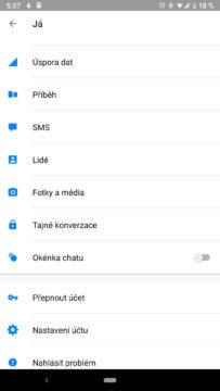 facebook messenger skryte funkce nastaveni