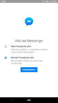 facebook messenger skryte funkce registrace