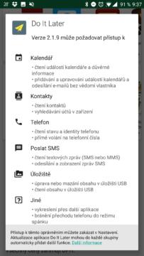 Požadavky na Android oprávnění před instalací
