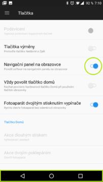 Softwarová tlačítka na displeji OxygenOS OnePlus 5