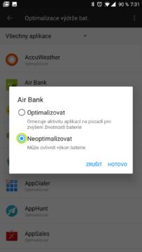 OxygenOS OnePlus 5 Zvolte možnost Neoptimalizovat