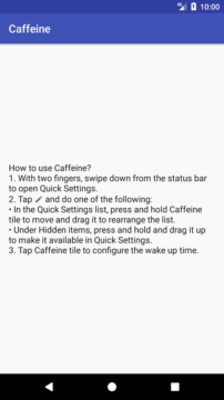 Nejnovější aplikace Nastavení aplikace Caffeine
