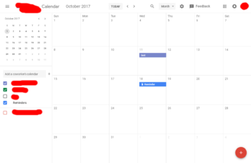 Google Calendar vzhled webu