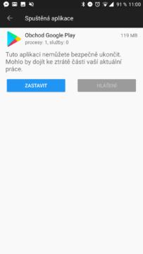 Možnost zastavení aplikace či služby