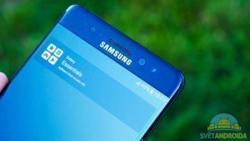 Samsung Galaxy Note 7 – konstrukce, přední strana, horní
