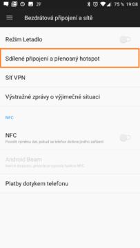 Sdílené připojení a přenosný hotspot