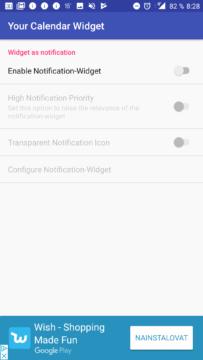 Nastavení widgetu v oznámeních