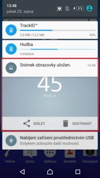 Informace o pořízeném snímku obrazovky