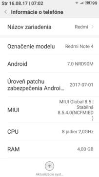 telefon xiaomi redmi note 4x aktualizace android 7 nougat