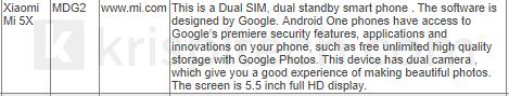 xiaomi s cistym androidem telefon MI A1