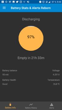Informace o vybíjení baterie