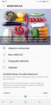 Samsung Galaxy Note 8 nastavení barev