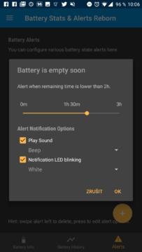 Upozornění na vybíjející se baterii