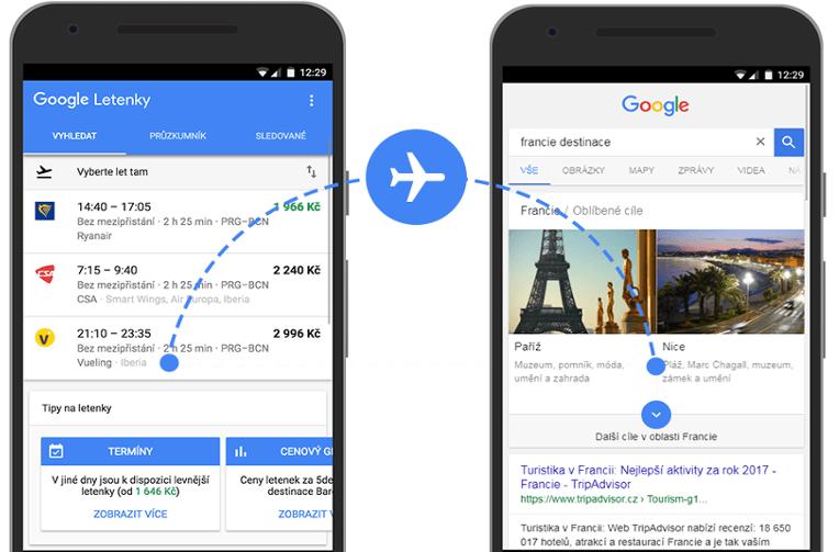 letenky google destinace
