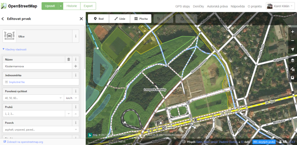 Úpravy map v editoru OSM