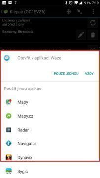 Nabídka pro volbu aplikace