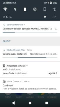 Sony Xperia XZ1 Compact notifikace