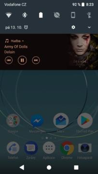 Sony Xperia XZ1 Compact přehrávač notifikace