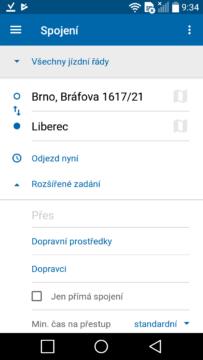Aplikace Jízdní řády IDOS 2