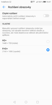 Huawei Mate 10 Pro nastavení rozlišení