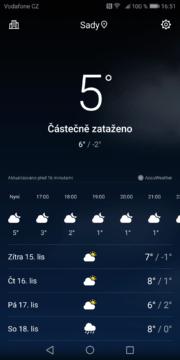 Huawei Mate 10 Pro počasí