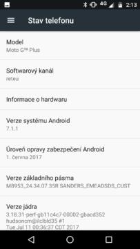 Motorola Moto G5S Plus info o SW