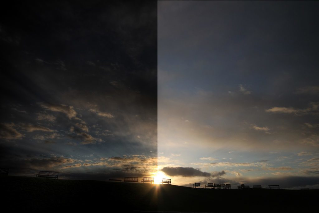 Porovnání obrázku bez HDR (vlevo) a s HDR (vpravo)