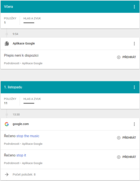 hlasove prikazy google nahravani
