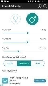 Alcohol Meter - nastavení osoby
