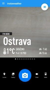 Hlavní obrazovka aplikace Instaweather