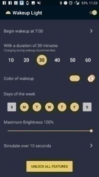 Rozhraní programu Wakeup Light