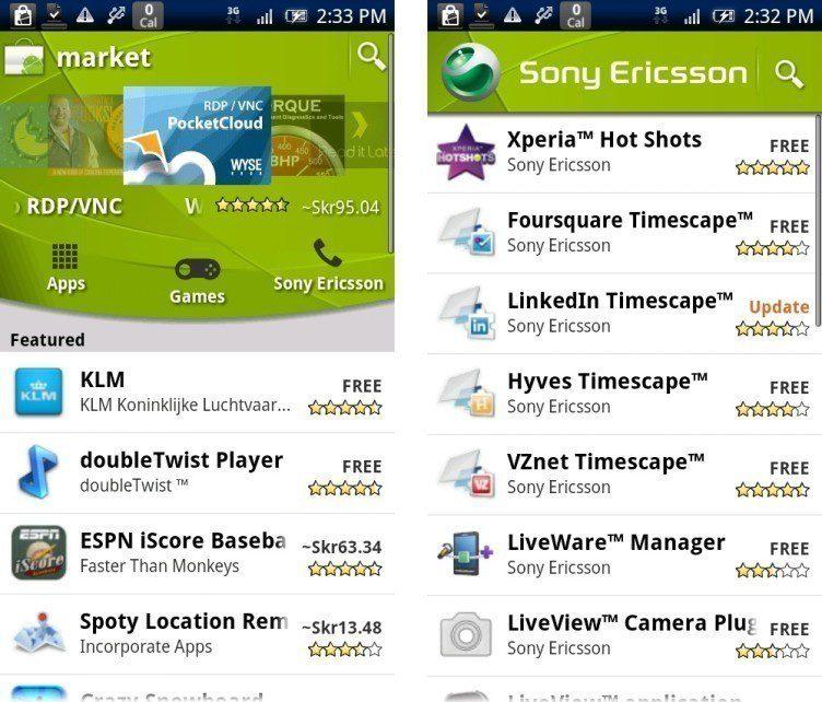 Takto vypadal Android Market v roce 2010