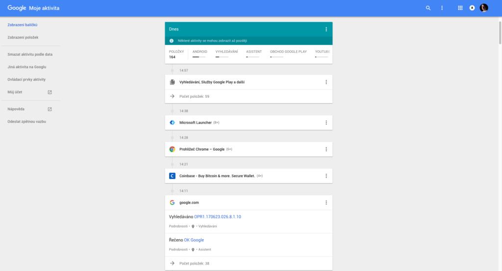 Google uklada-moje aktivita