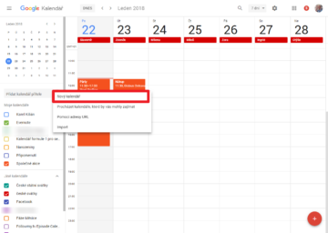 Klepněte na plus a pak Nový kalendář