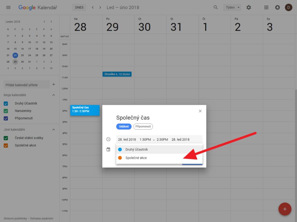 Výběr kalendáře ve webové verzi