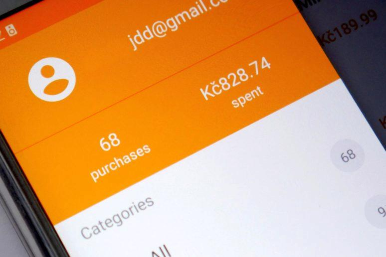 seznam koupenych aplikac Google Play