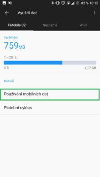 Sekce Používání mobilních dat