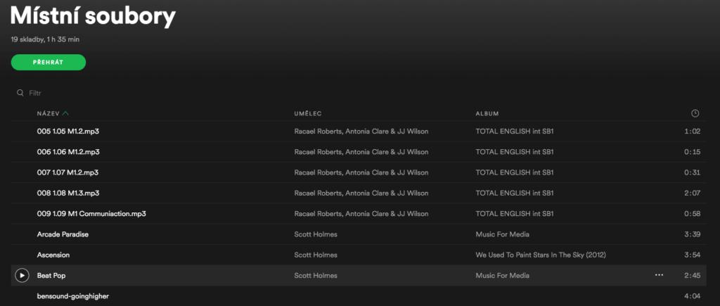 Spotify tipy-mistni soubory