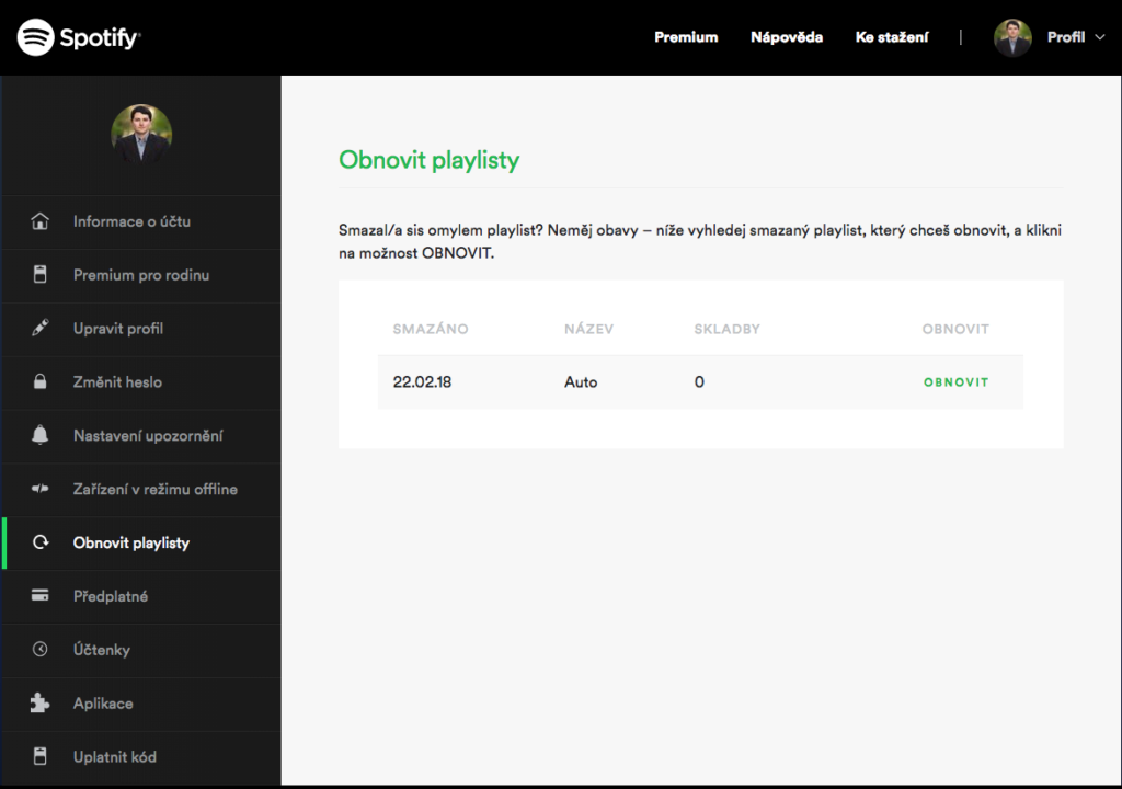 Spotify tipy-obnovit playlist