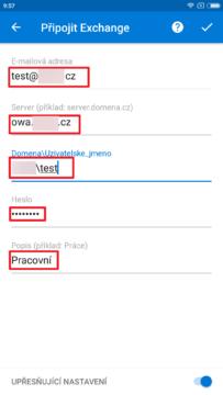 Zadejte adresu Exchange Serveru a další údaje