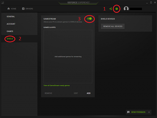 moonlight nastaveni geforce experience